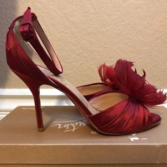 a7020e2a50 Christian Louboutin Shoes | Red Satin Feather Heels 365 | Poshmark